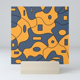 blue and yellow puzzle Mini Art Print