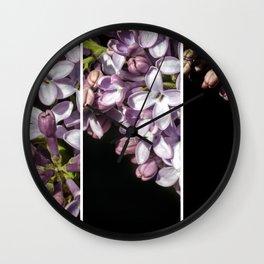Lilac Bouquet Triptych One Wall Clock
