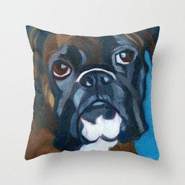 Boxer Lil E Dog Portrait Throw Pillow