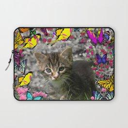 Emma in Butterflies - Gray Tabby Kitty Laptop Sleeve