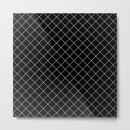 Abstract Diamond Grid Lines Black and White 12 Metal Print