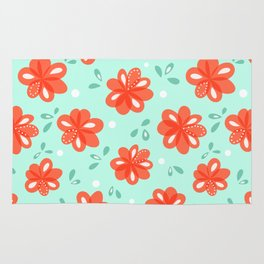 Cheerful Red Flowers Pattern Rug