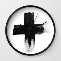 cross Wall Clocks featuring Cross by Roscoe