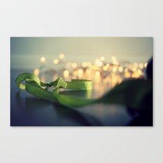 christmas ribbon bokeh Canvas Print