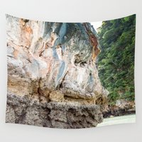 thailand Wall Tapestries featuring Rock Face, Thailand by Jennifer Stinson