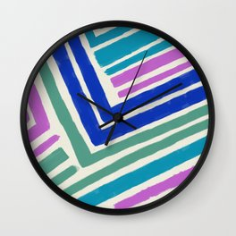 Color Lines Connections / Abstract Brushstrokes Pattern Wall Clock
