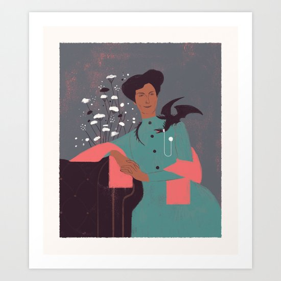 A Lady and her Pet Art Print