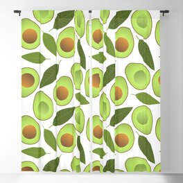 Avocado and Avocado Leaves pattern illustration Blackout Curtain