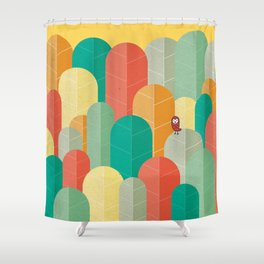 080 - Owly visits the poplar forest in autumn III Shower Curtain