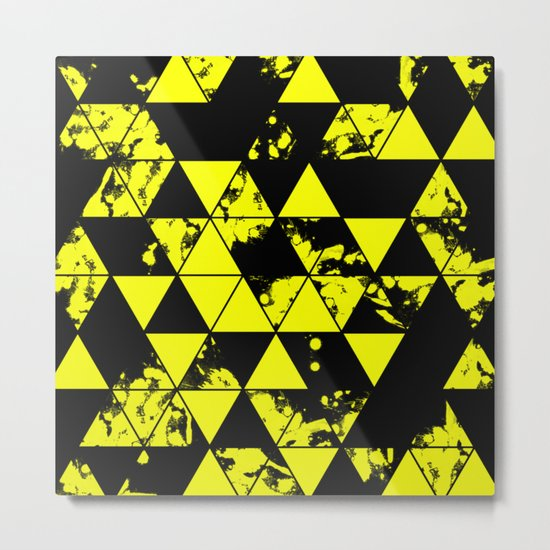 Splatter Triangles In Black And Yellow Metal Print