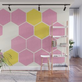 Pink Honeycomb Wall Mural