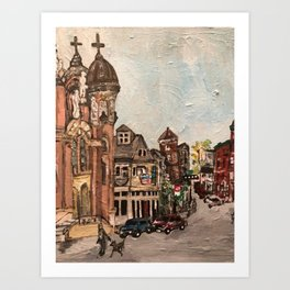 """Little Italy, Cleveland""  Ohio Painting Art Print"