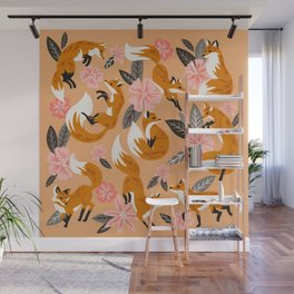 Foxes & Blooms – Melon Palette Wall Mural