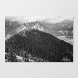 Mountain Landscape Photography Black and White Canvas Print