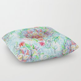 Messy Boho Floral in Rainbow Hues Floor Pillow