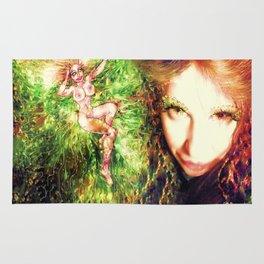 Fairy feather wood nymph ladykashmir painting , Art Print by ladykashmir Rug