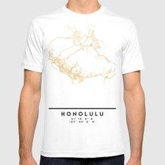 HONOLULU HAWAII CITY STREET MAP ART Mens Fitted Tee MEDIUM White