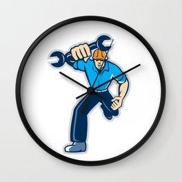 Mechanic Spanner Wrench Running Retro Wall Clock