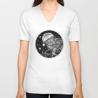 jellyfish V-neck T-shirts featuring Jellyfish by Corinne Elyse