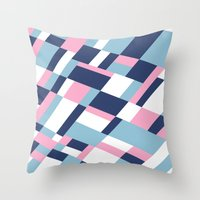 matisse Throw Pillows featuring Matisse Map Pink by Project M