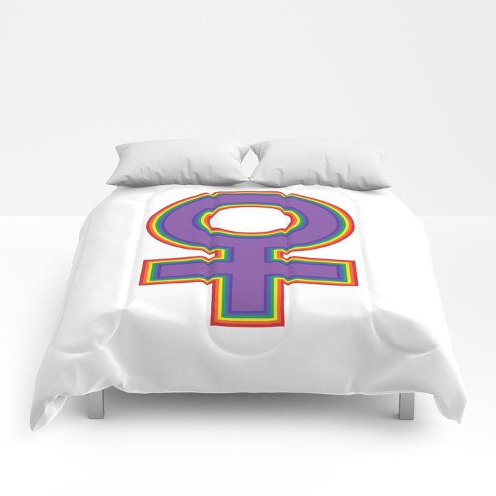 Female Symbol Fem Feminist Rainbow Comforters