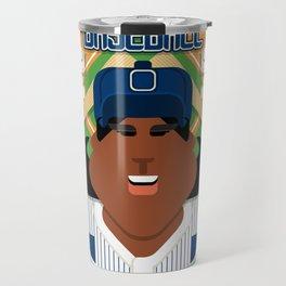 Baseball Blue Pinstripes - Deuce Crackerjack - Aretha version Travel Mug