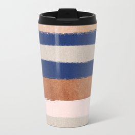 Stripes abstract minimalist painting bronze copper gold metallic stripe pattern decor nursery Travel Mug