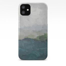 Gray Clouds Green Land Aqua Teal Water Ocean Waves Abstract Nature Painting Art Print Wall Decor  iPhone Case