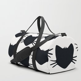 black and white kitteh cat outline Duffle Bag