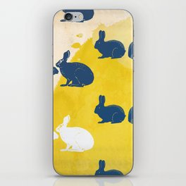 Rabbit Hour:  Blue Yellow and White watercolor iPhone Skin