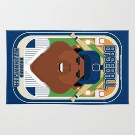 Baseball Blue Pinstripes - Rhubarb Pitchbatter - Hayes version Rug