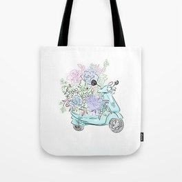 flowers and scooter. Flowers art Flower Art Print. Tote Bag