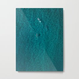 Trio Swimmers Turquoise Waters  Metal Print