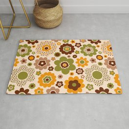 Retro 70s funky flowers brown, orange, green Rug
