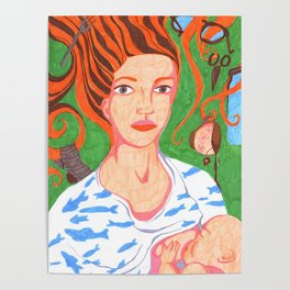 Mama breastfeeding her little baby Poster