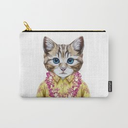 Portrait of Cat in summer shirt with Hawaiian Lei. Carry-All Pouch