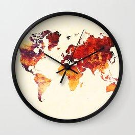 world map 89 art red Wall Clock