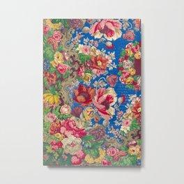 Vintage Floral Pattern by by Evans & co. of London Metal Print