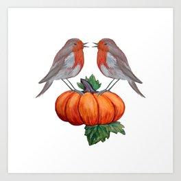 Robins and pumpkin watercolor art Art Print