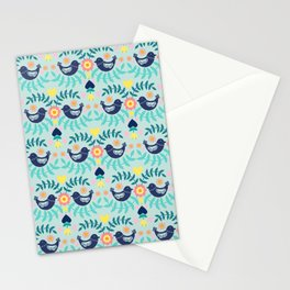 Folky Pattern Light Blue Stationery Cards