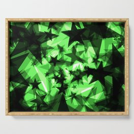 Dark green space stars with glow in the distance from the foil in perspective. Serving Tray