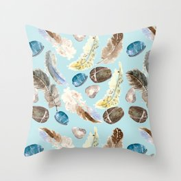 feather and rocks II Throw Pillow