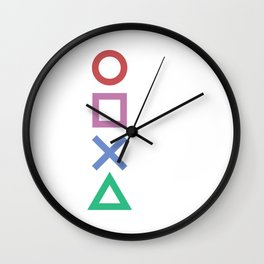 Minimalist Playstation Buttons White (2K Design by Gungham) Wall Clock