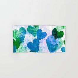 Fab Green & Blue Grungy Hearts Design Hand & Bath Towel