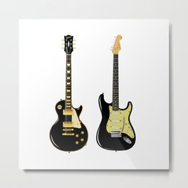 Black Guitar Duo Metal Print