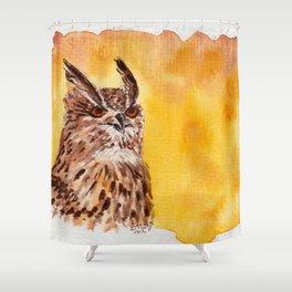 owl-middle owl-hibou moyen duc Shower Curtain