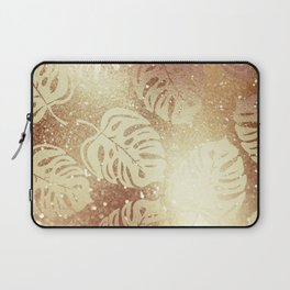 Whisper-Gold Palm Leaves Pattern Laptop Sleeve