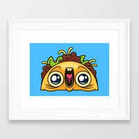 taco Framed Art Prints featuring Excited Taco by Artistic Dyslexia