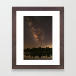 Summer Milky Way Over the Lake Framed Art Print