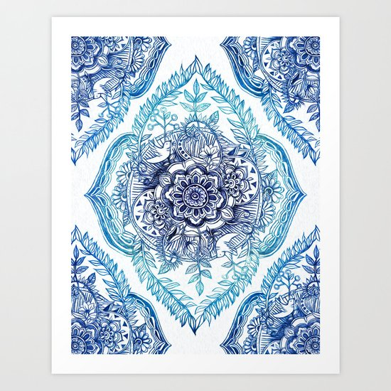 Indian Ink - in Blues Art Print